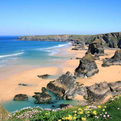 Bedruthan Steps, 10 minute drive away