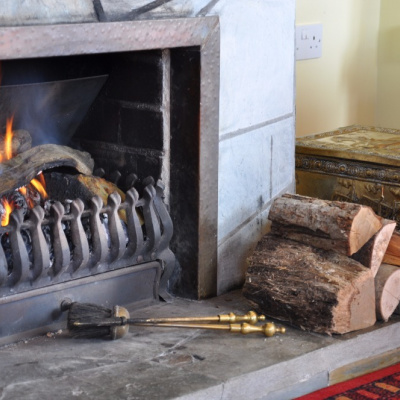 Open log fire