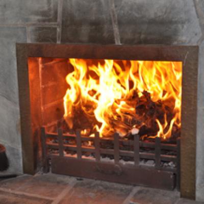 Open log fire