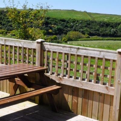 Decked garden with views