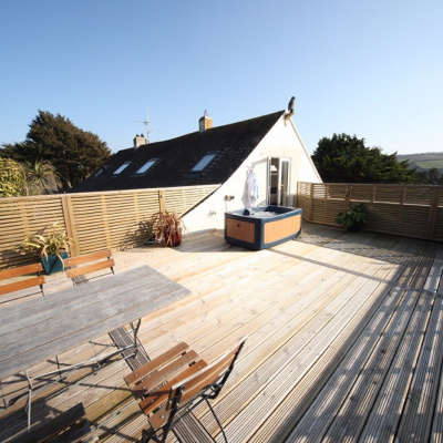 Decking and private hot tub