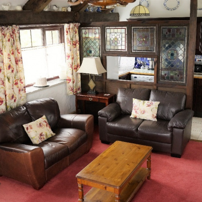 Cosy corner, two leather sofas