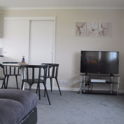The TV and dining area