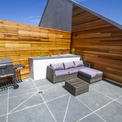 Relax in the Cornish Slate and Cedar Outdoor Space