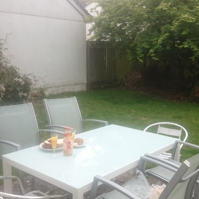 new alfresco table in sunny garden