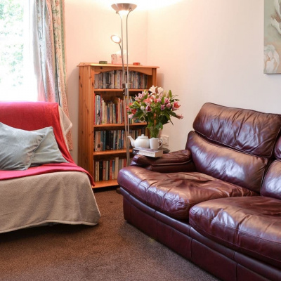 Cosy living room with books and DVDs