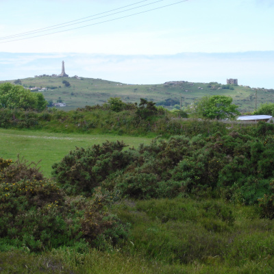 Carn Brea Monument seen from the driveway.