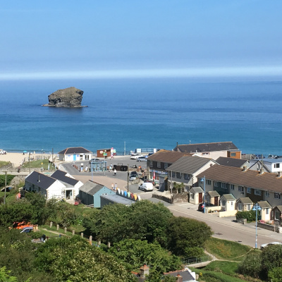 View from top of Tregea Hill to Portreath Beach.