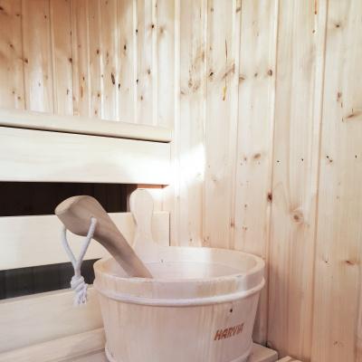 Private sauna next to the hot tub