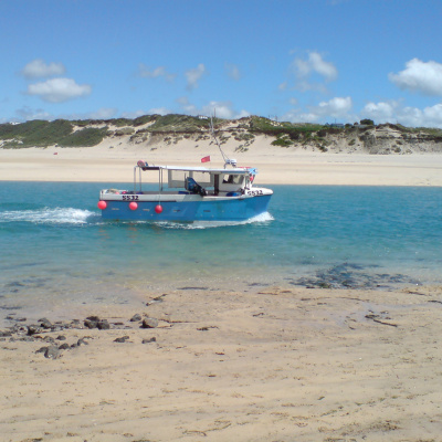 Fishing boat returning to Hayle from the sea